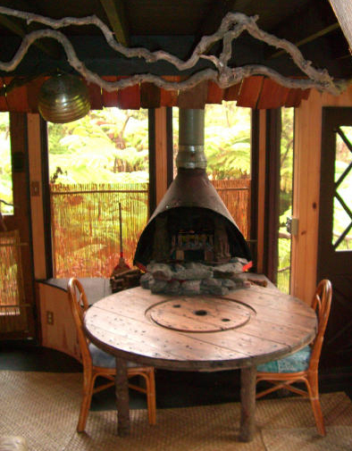 Wood burning fireplace at table level